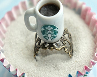 starbucks coffee ring- miniature food jewelry, coffee ring, coffee mug