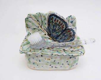 Green Butterfly Stoneware Soap Dish / Ceramic Soap & Sponge Holder