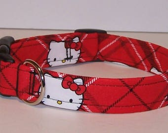 Colorful Hello Kitty Dog Collar Red & Black Plaid