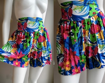 80s High Waisted Shorts Skort In Bright Floral Tie Wiast