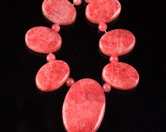 g2265 18mm to 30mm Red calcite graduated oval beads pendant beads set