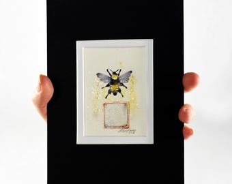 Original Painting of a Bumble Bee, Bombus Pensylvanicus, ACEO, Ink with Copper Leaf, Ready to Frame