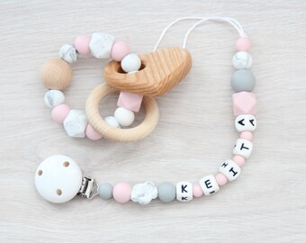 Personalized dummy clip with teething toy / Baby first gift set / Safe for teething