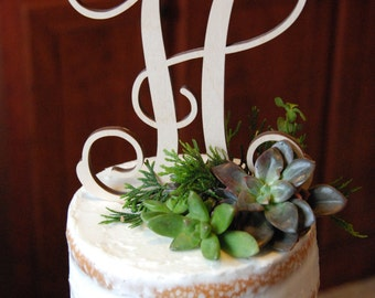 Personalized Cake Topper - Bride's Cake - Initial Cake Topper - Painted
