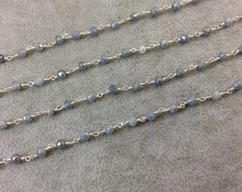 Silver Plated Copper Rosary Chain with Faceted 3-4mm Rondelle Shaped Mystic Coated Gray Quartz Beads - Sold Per Ft - (CH151-SV)