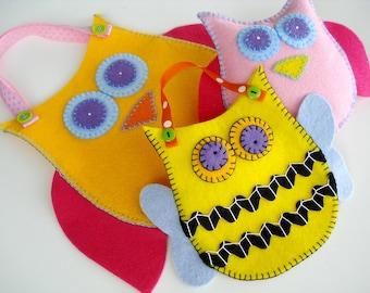 NEW Felt Pouches Toy Sewing Pattern - PDF ePATTERN - Owl, Bat, Cat, Bee and Ladybug