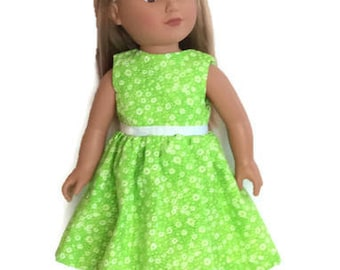 18 Inch Doll Clothes, Green Doll Dress, Lime Green Doll Dress, Light Green Floral Doll Dress, Summer Doll Clothes