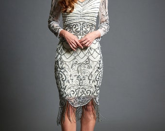 Tabitha Off White Embellished Dress, 20s Great Gatsby Inspired, Bridal Flapper, Long Sleeve Tassel Dress, Art Deco, Wedding Function, S-XXL