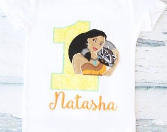 Pocahontas Baby Girl First Birthday Pocahontas Girl birthday Onesie Customized Pocahontas and Raccoon Birthday Onesie Belle Birthday