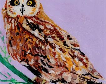 Owl Paintings, Hawaiian Pueo, Original Reverse Arcylic Art, Hawaii Paintings, Hawaiian Owls, Pueo Art, Whimsical  Animals