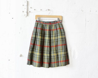 60s Plaid Pleated Skirt XS/S • Wool Midi Skirt• Green Pleated Plaid Skirt • Knee Length Skirt by Koret | SK466