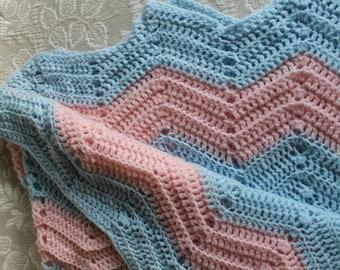 Vintage Knit Crocheted Baby Blanket Soft Acrylic Crib Size