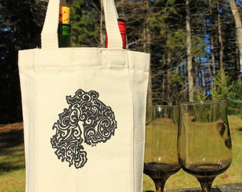MDI Tribal Tattoo Cotton Canvas Double Bottle Wine Bag with handles
