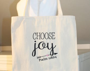 Choose Joy Tote Bag - Tote Bag with Choose Joy