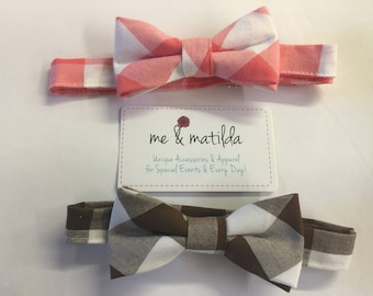 Little Boy's Bow Tie Set Coral Buffalo Check and Brown Buffalo Check Ready to Ship