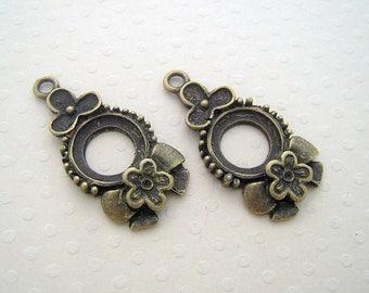 Lot de 2 pendentifs bronze 31x18 mm - SCABRB-0615