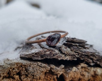Garnet and Electroformed Copper Ring Size 10