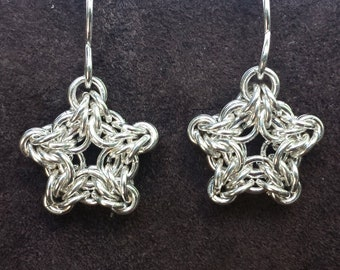 Byzantine Star Chainmail Earrings