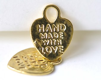 Gold Heart Charms Double Sided 12x15mm Set of 40 A8083