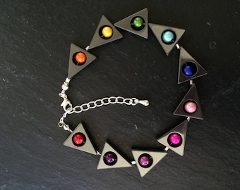 "8 1/2"" haematite and rainbow beaded bracelet with 2 1/2 sterling silver extension chain"