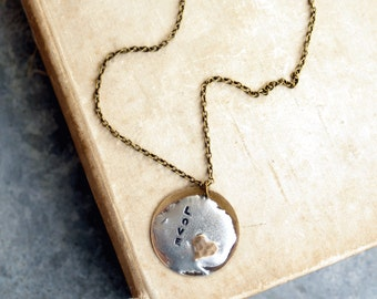 Love Necklace, Handstamped Pendant, Brass Heart, Custom Word, Soldered, Personalized Necklace