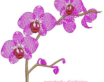 orchid - Machine Embroidery design - tested