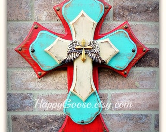 Wall Cross - Wood Cross - Medium  - Antiqued Red, Turquoise, and Beige with Wings