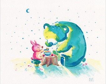 Watercolor Bear Print, Bear Art with Rabbit- My Beary Berries Friend - 8x10 -  Green Bear, Tea Party, Cute Bear, Littlebluemoon