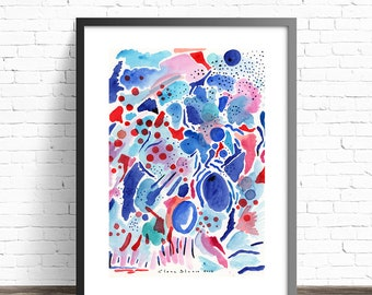 Colorful Modern Art Print . Abstract Watercolor Print . Blue and red wall art . Living room abstract art . Modern abstract prints