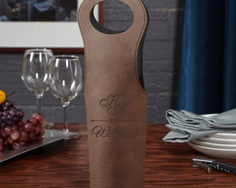 Sheridan Personalized Chestnut Wine Bag - Beautiful Wedding Gift for Wine Lovers & Couples