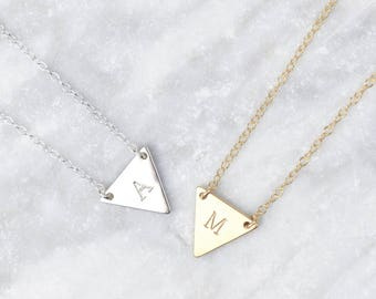 Dainty Triangle Necklace • Triangle Initial Necklace • Dainty Geometric Necklace • Initial Jewelry • Personalised Necklace • Sterling Silver