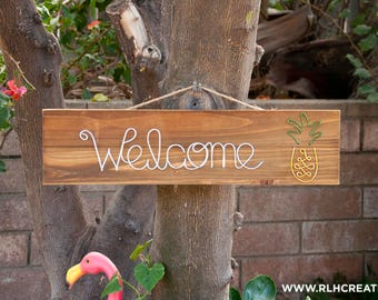 Welcome Sign / Wood Welcome Sign / Wire Welcome Sign / Bienvenidos Sign / Home Decor / Rustic Decor / Home Sign / Housewarming Gift /Welcome