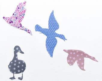 "Applied fusible ""Flight of wild geese"" liberty"