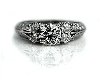 Simon G Unique Vintage Diamond Ring 1.76ctw Simon G Round Cut Diamond Vintage Wedding Ring 18Kt White Gold Engagement Ring Size 7!