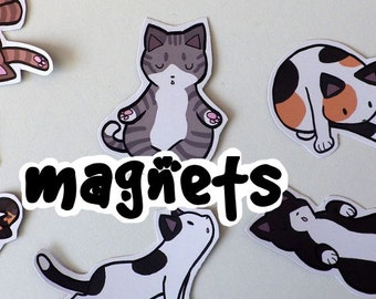 Cute Yoga Cat Decorative Magnets! Pack of 8 - Custom Made to Order