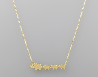 Elephant Mom & 3 Babies Charm Necklace