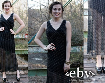 Vintage 80s Black Silk Sheer Beaded Disco Party Dress XS S Christmas Dress NYE Dress Silk Dress Beaded Dress Gatsby Dress Flapper Dress