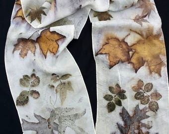 """Ecoprinted Silk Scarf, maple, oak and rose designs & colors imprinted from Nature, 8"""" x 72"""", Natural silk art by artist, OOAK, USA ship FREE"""