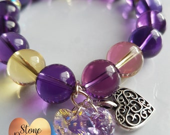 Ametrine with Swarovski hearts and heart charm!!!Perfect gift for her!!!