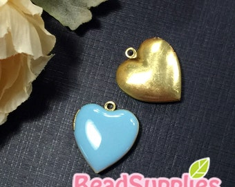 CH-EX-08055 - Nickel Free, Heart-shaped locket, aqua, 2pcs