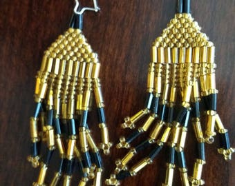 Black and Gold glass bead Egyptian style earrings #1