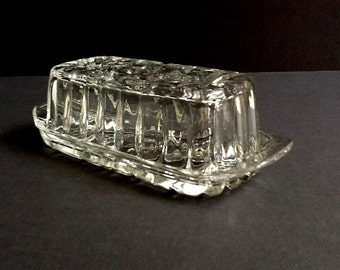Pressed Glass Butter Dish, Hobstar & Pinwheel Design