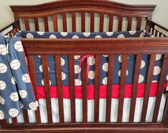 Boy Crib Bedding - Personalized Vintage Baseball Crib Baby Bedding Ensemble