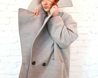 Long Wool Coat Women/Wool Coat/Wool Plus Size Jacket/Asymmetric/Oversized Coat/ Plus Size Clothing/Spring Coat/Cyberpunk/Punk Jacket/Boho