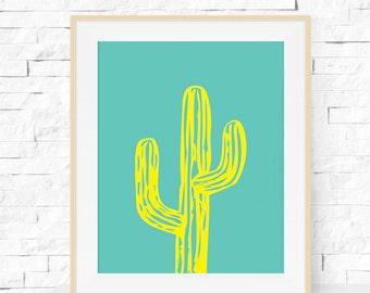 Cactus Print, Cactus Plant Garden Art Print, Cactus Printable, INSTANT DOWNLOAD, Home Decor, Printable Cactus Art, Printable Wall Art