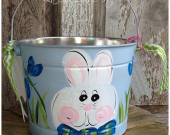 Easter Bucket, Personalized, Hand-Painted, Tin, Pail, Easter Pail, Boy Easter Bucket, Blue Easter Bucket, Bunny Bucket
