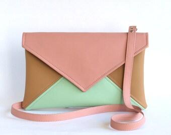 Vegan Leather Bag Pink Mint Crossbody Bag Vegan Bag Small Cross Body Bag Vegan Crossbody Purse Small Crossbody bag Women Bag Small Purse