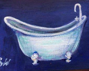 Clawfoot Bathtub Painting White Bathtub Art