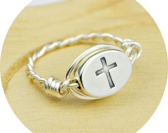 REVERSIBLE Cross/Holy Ring- Sterling Silver Filled Wire Wrap with Sterling Silver Bead - Any Size 4, 5, 6, 7, 8, 9, 10, 11, 12, 13, 14