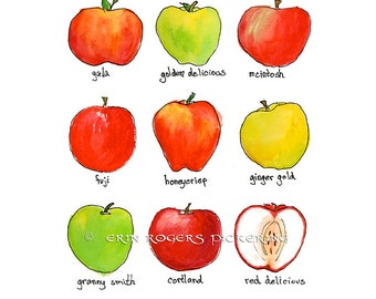An Apple A Day 8x10 kitchen art print